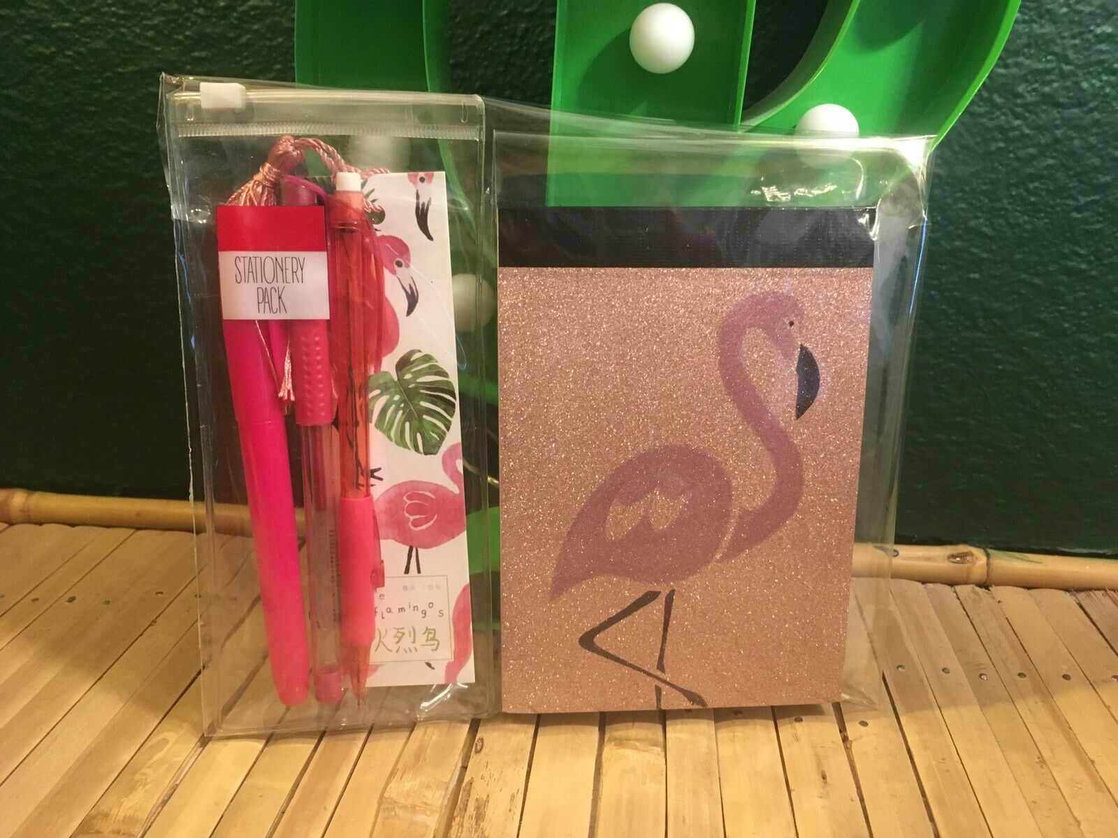 Pink Glitter Flamingo A6 Notepad +bookmark +Stationery Pack/pens 5pc gift set