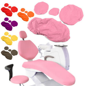 Dental Chair Unit Cover Sleeves PU Headrest Seat Stool Protector 1 SET 6 Colors