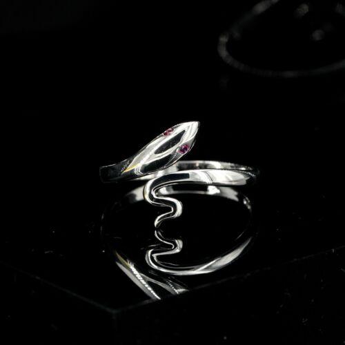 Bague Petit Serpent Rouge Argent 925 Mariage Reglable Fin CY3