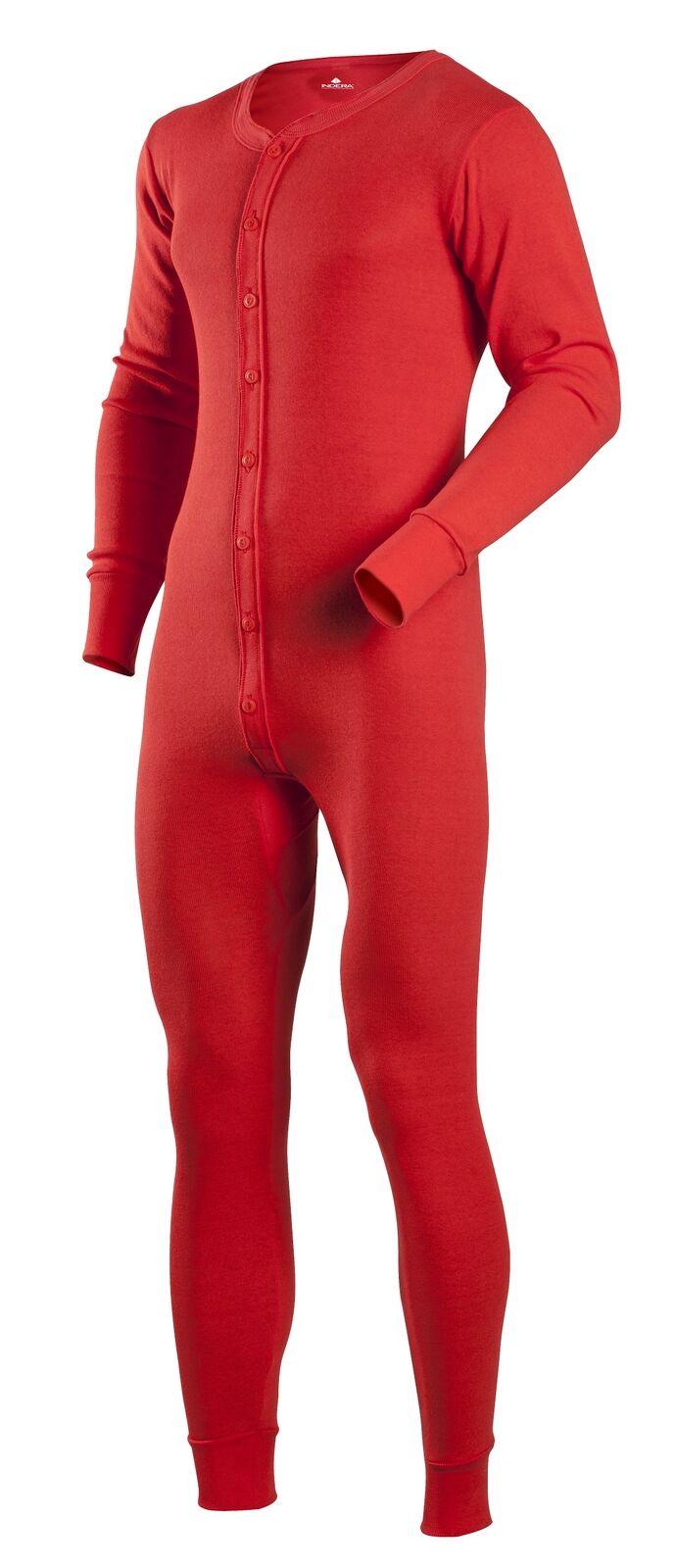 Indera Cotton 1 x 1 Rib Unionsuit - Red - Men Size XXL