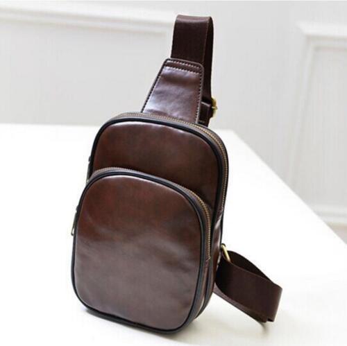 Men/'s Leather Chest Cycle Sling Satchel Crossbody Shoulder Bag Business Bag