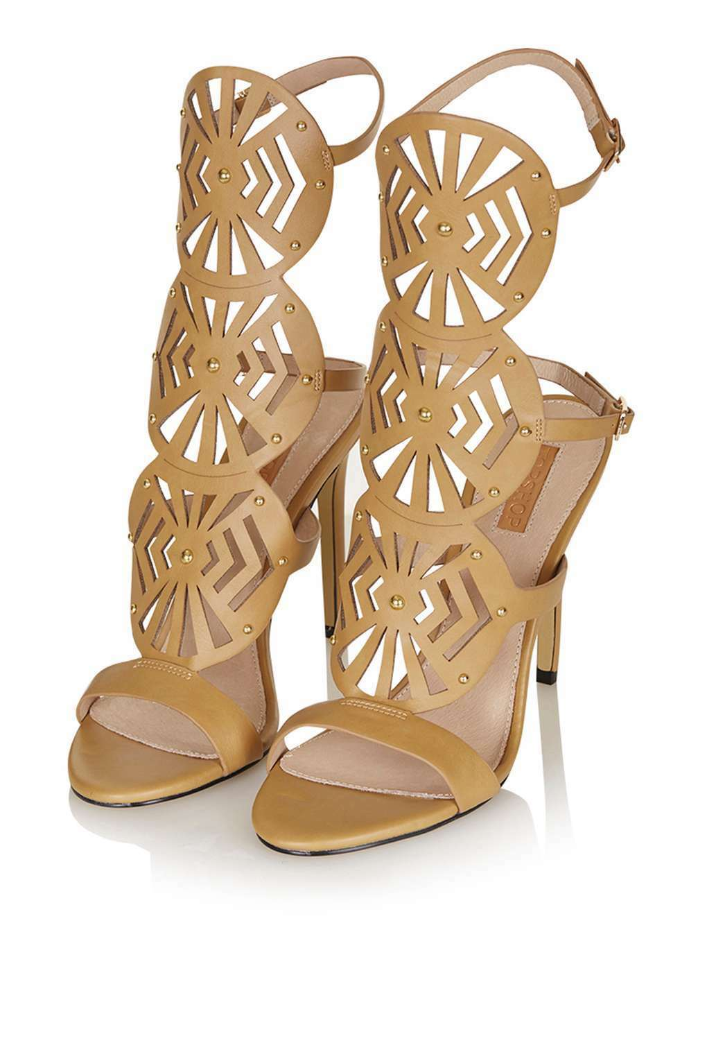 BNWT OUT TOPSHOP RAVELA CAMEL BROWN LAZER CUT OUT BNWT SANDALS HEELS SIZE 5 93ff21