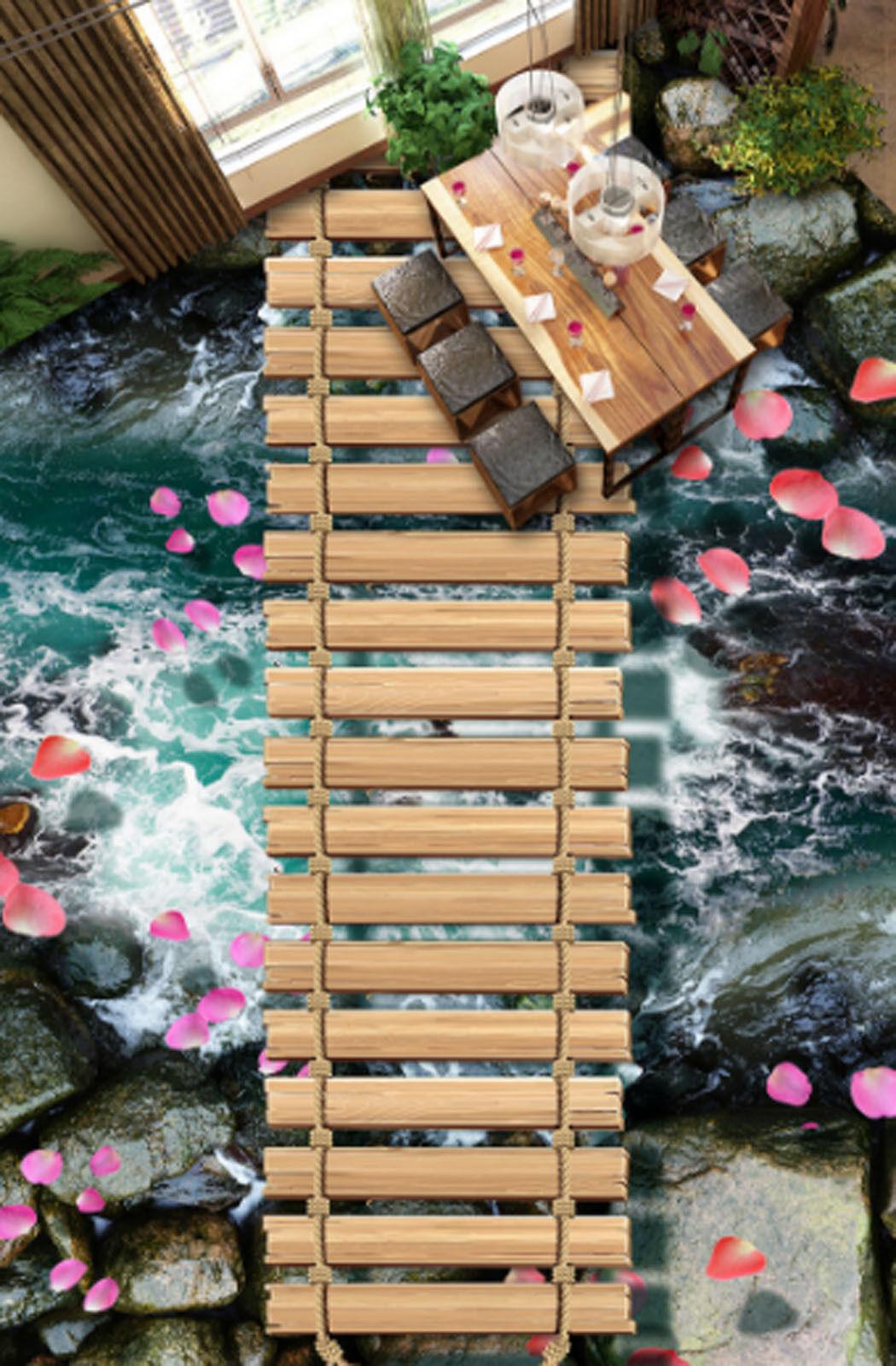 3D Stream Petals 437 Floor WallPaper Murals Wallpaper Mural Print AJ AU Lemon