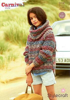 Stylecraft 9190 Knitting Pattern Girls Sweater Snood /& Hat in Carnival Chunky