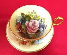 Aynsley J A Bailey Gold Footed Cup & Saucer Pink Cabage Rose