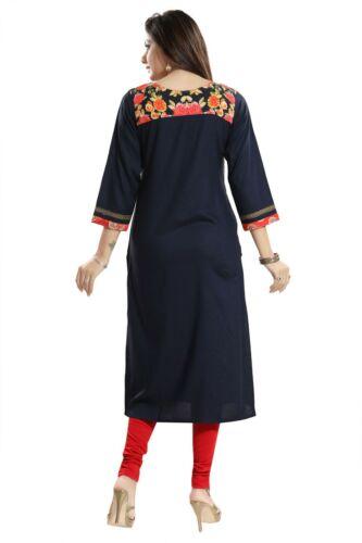 Unifiedclothes® Cotton Printed 3//4 Sleeves  Kurti Tunic Kurta Shirt Dress SC1066