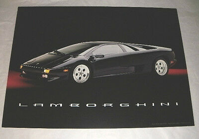 "BLACK 1995 LAMBORGHINI POSTER BY TANGERINE PRESS KIMBALL USA  24""X18"" RED CHROME"