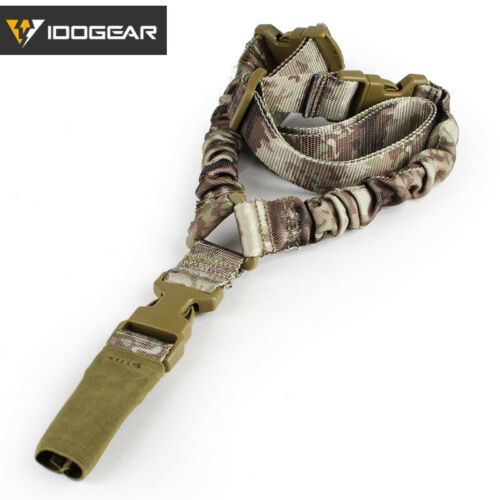 IDOGEAR Tactical Single Point Sling Bungee Adjustable Quick Detachable Hook Camo