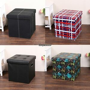 Image Is Loading Single Faux Leather Cube Ottoman Folding Storage Pouffe