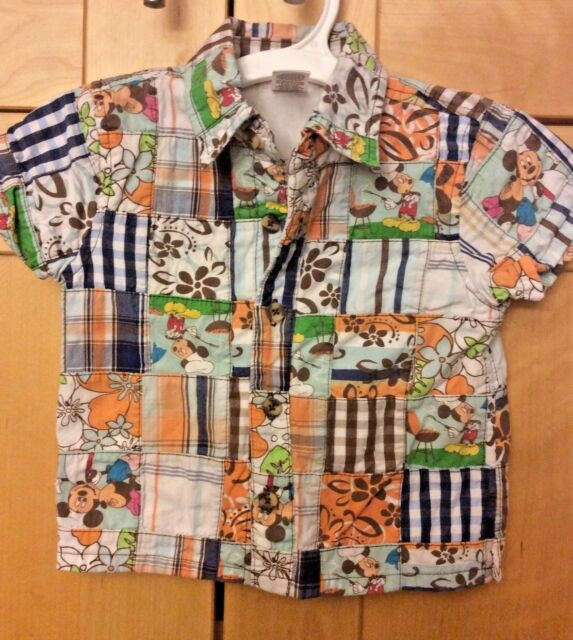 Disney Mickey Mouse Baby Boy Multicolor Plaid Patchwork Hawaiian Shirt 12M
