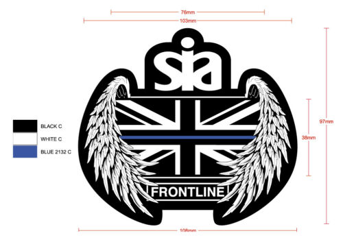 2 qty Frontline ONLY SIA Security Thin Blue Line UK Guardian Angel Sew On Patch