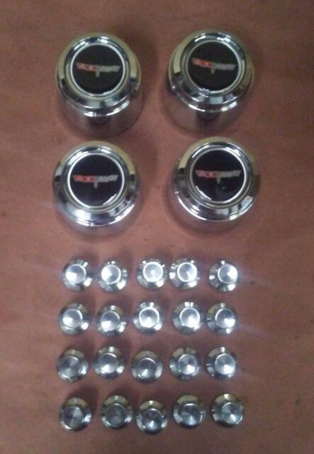80-81 CHEVROLET CORVETTE 8 SLOT ALUMINUM WHEEL CHROME CENTER CAP SET W/ LUG NUTS