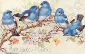 Victorian Basket Bluebirds Flowers Fabric Multi Sizes