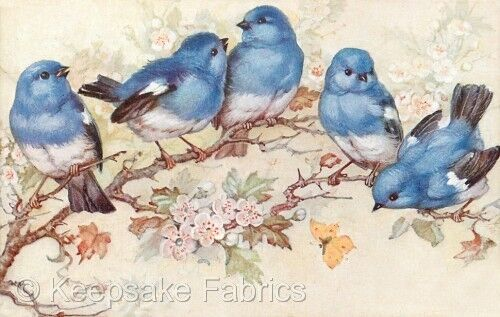 Five Bluebirds Vintage Repro Quilt Block Multi Sizes FrEE ShiPPinG WoRld WiDE