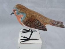 Hand Carved and Hand Painted Wooden Robin Bird.