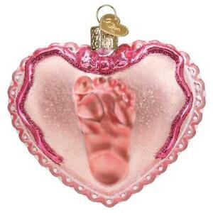 Old-World-Christmas-BABY-GIRL-039-S-FOOTPRINT-30059-N-Glass-Ornament-w-OWC-Box