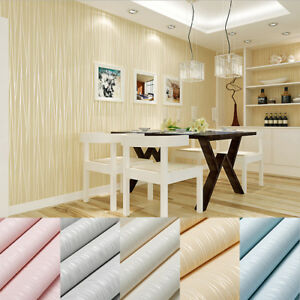 5M-SELF-ADHESIVE-MODERN-STRIPE-EMBOSSED-FLOCK-TEXTURED-NON-WOVEN-WALLPAPER-ROLL