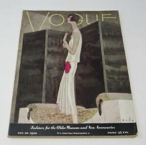 Nov 1928 Vogue Magazine Bolin Cover Art Deco Flapper Women Fashion Accessories