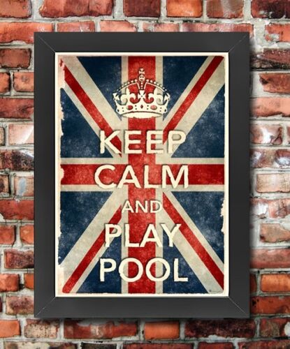 KCV26 Framed Vintage Style Union Jack Keep Calm Play Pool Funny Poster A3//A4