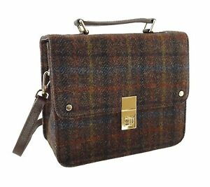 Harris Marron À Main Tweed Carreaux Grand Sac Femmes Carré Et Cuir Authentique Rw75wxqZH