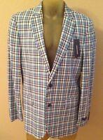 Stafford Signature Classic Plaid Cotton Sport Coat Suit Jacket 44 Regular