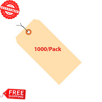 #4 Manila Pre-Wired Tag 13 Point Size Reinforced Tear Resistant Tags 1000-Pack