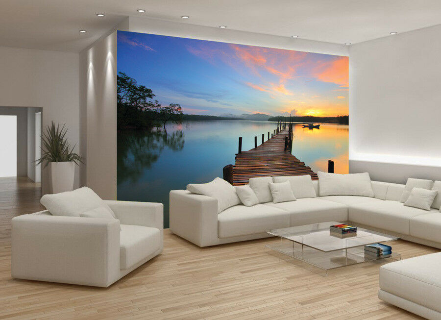 Pier Pier Pier Eau Papier Peint mer lac nature Photo Wall Murals Bedroom Living Room aae086
