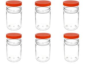 24 Pack 25oz Clear Plastic Jars PET With Orange Lid For Food Powder Storage