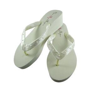 Ivory 2 Inch Heel Wedge Flip Flops with