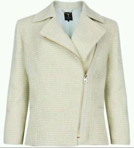 944e7c48acd18d NWT Ted Baker Noira Cropped Boucle Biker Jacket Pale Green  395 Ted ...