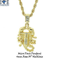Brand Micro Pave Gold Scorpion Pendant Rope Necklace Hip Hop Jewelry1078