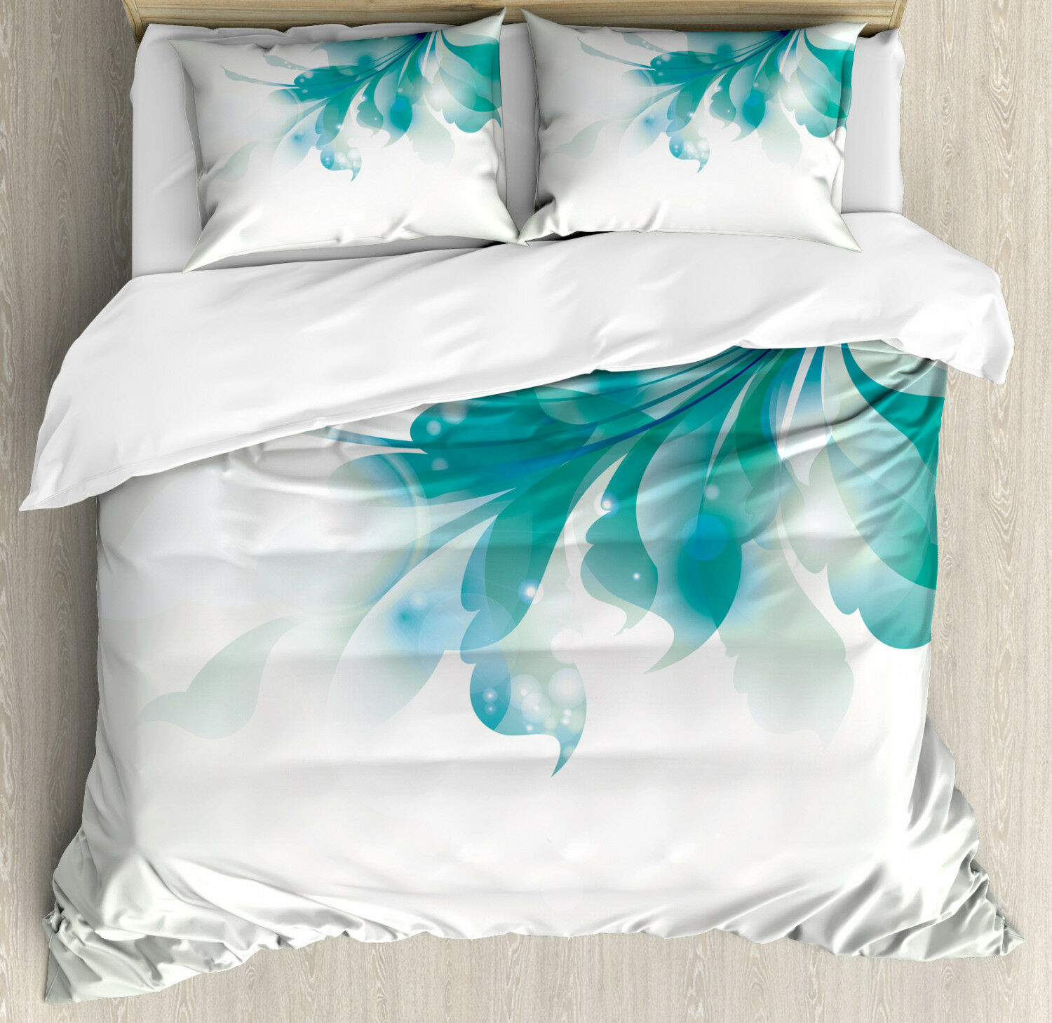 Abstract Duvet Cover Set with Pillow Shams bluee Ombre Flowers Print