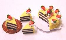 1:12 Maßstab Geschnitten Schokolade Kuchen /& Gelb Rosen Tumdee Puppenhaus Mini