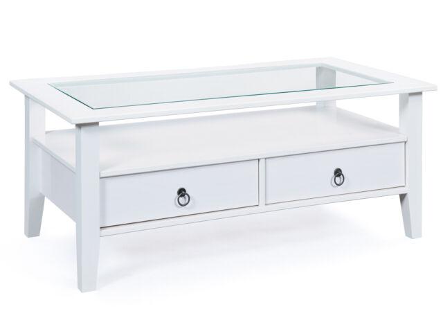 Couchtisch Stubentisch Tisch Provence 7 Massivholz Weiss Glas Ebay