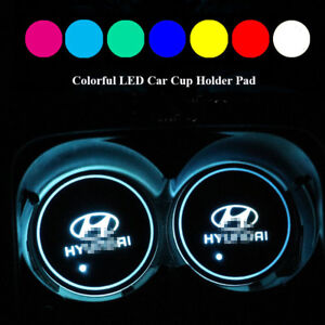 2PCS LED Car Cup Holder Pad Mat For GTI Auto Atmosphere Lights Colorful