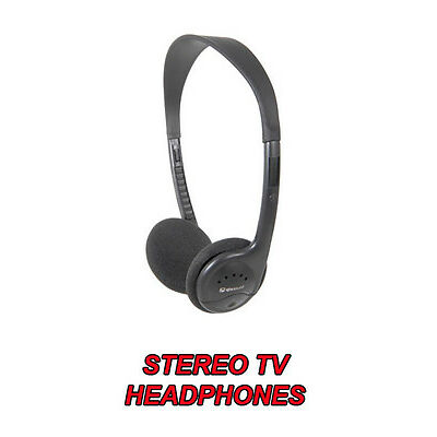 LIGHTWEIGHT STEREO TV HEADPHONES EXTRA LONG LEAD IN LINE ROTARY VOLUME CONTROL