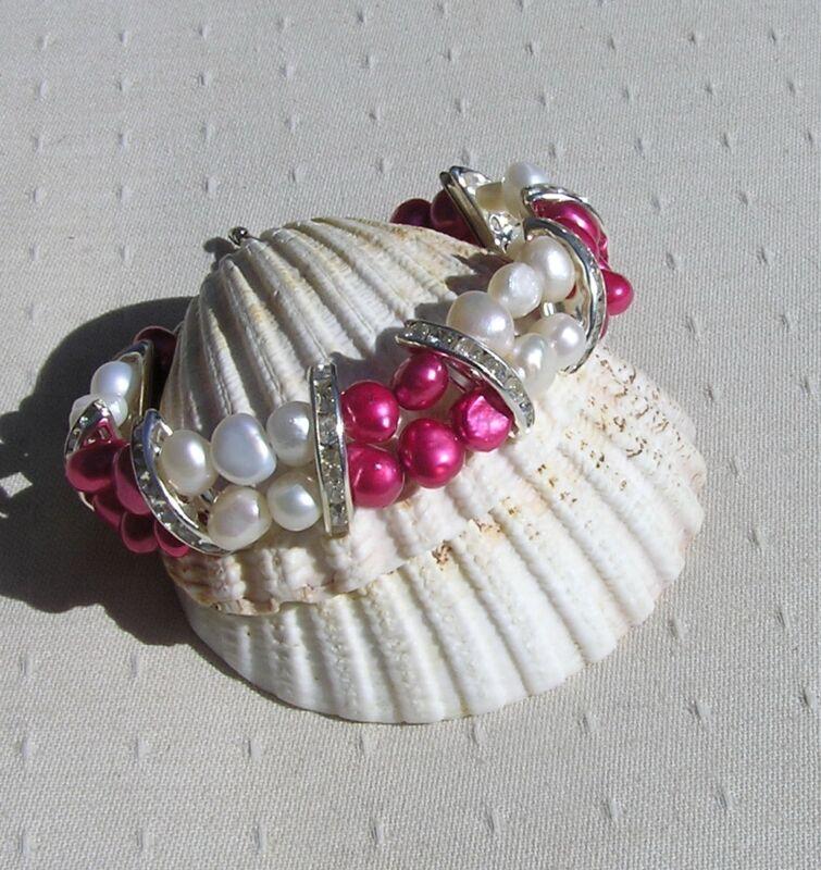 "Pink (cranberry) & White Freshwater Pearl Glamour Bracelet ""raspberry Crush"""