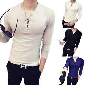 f23b1c2c5f7f Mens Casual Solid Color Deep V Neck Tie Slim Fit Long Sleeve Cotton ...