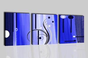 Quadri moderni astratti dipinti a mano blu azzurro per salone o camera da letto ebay - Dipinti per camera da letto ...