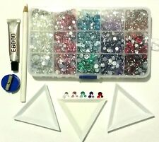 7000 Faceted Flat Back Resin RHINESTONES Storage Box Starter Kit 4mm  5mm  6mm