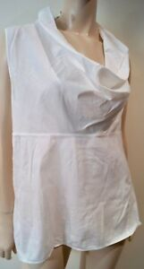56ea486620 Image is loading SARAH-PACINI-White-Cotton-Blend-Draped-Neckline-Sleeveless-