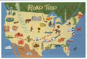 Details about U.S. Road Trip Map, Route 66, Space Needle, Hollywood on a united states map, love map, awesome map,