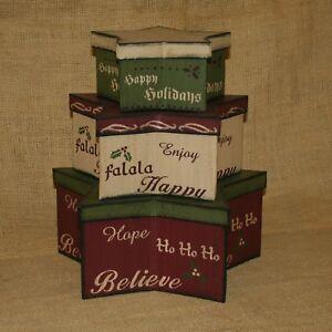 Star Stacked Boxes Christmas Theme Believe Happy Holidays Hope Falala Set 3