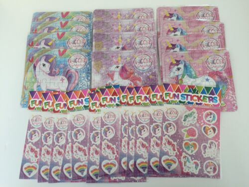 12 x Packs Unicorn Stickers /& 12 Jigsaw Puzzle Girls Birthday Party Bag Fillers