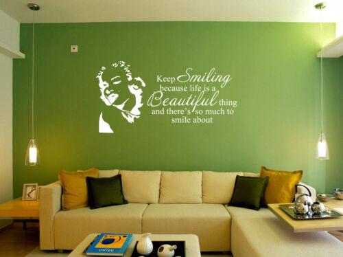 Marilyn Monroe garder le sourire la vie est belle Wall Stickers Art Decal UK RUI287