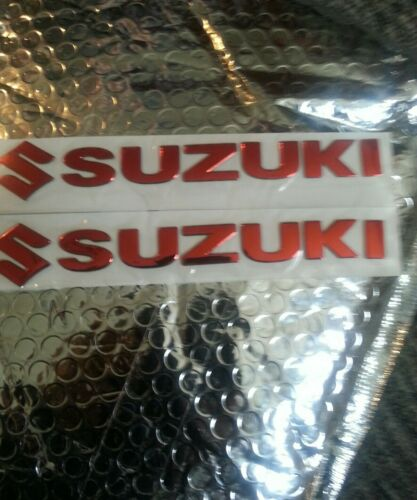 UK SELLER Red SUZUKI MOTORBIKE RAISED BADGE TANK FAIRING STICKER SET