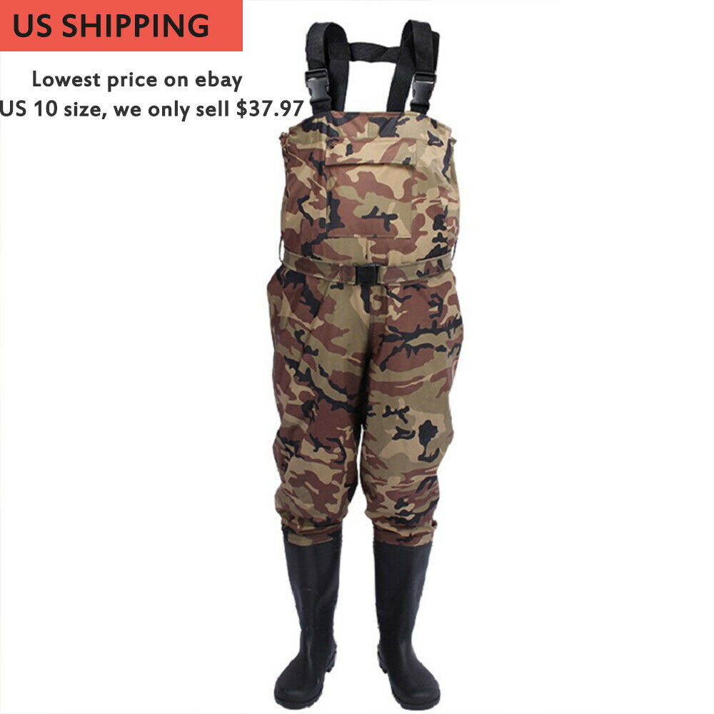 Nylon PVC Fishing Hunting Waterproof Chest Waders w  Wading Boots for Men&Women