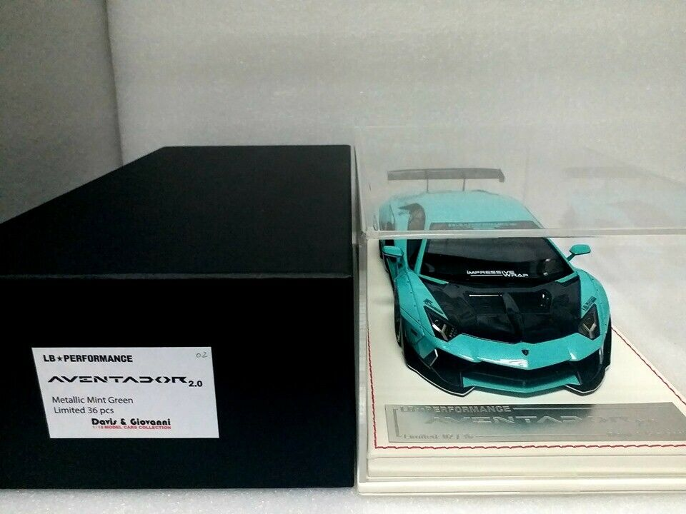 Davis & Giovanni 1 18 LB Aventador 2.0 atteint. vert menthe avec Display Case  DG18092
