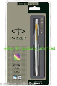 Parker-Jotter-SS-Steel-GT-Ball-Point-Pen-Gold-Trim-Fine-Quink-Blue-Ink-New