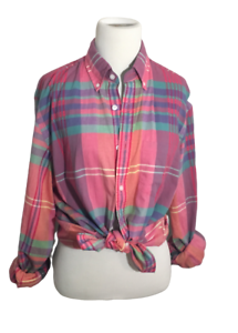 J Crew Pink Blue Long Sleeve Plaid Button Up Shirt Womens M